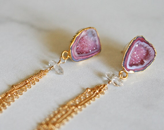 Pink Geode Earrings with Long Gold Chain Tassel
