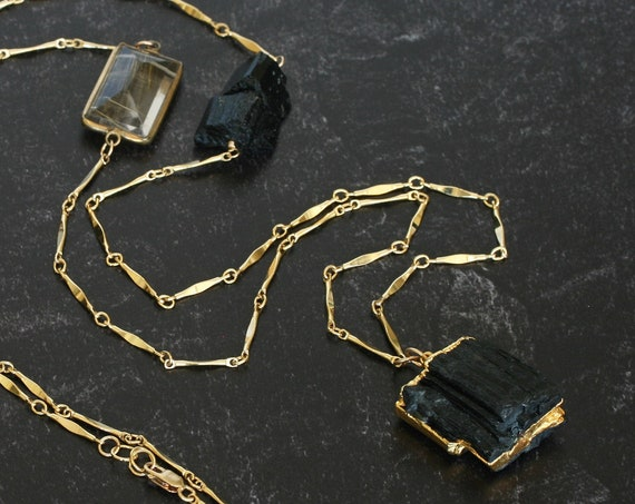 Raw Black Tourmaline Necklace \\ Long Gold and Black Necklace