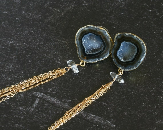 Black Druzy Tassel Earrings with Herkimer Diamonds