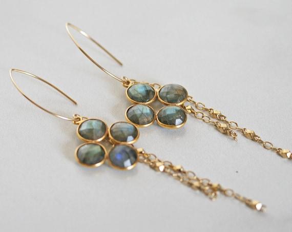 Gold Labradorite Dangle Earrings