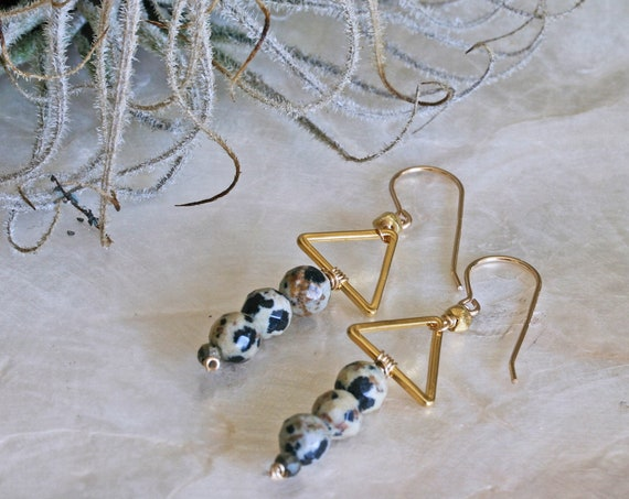 Geometric earrings with Dalmatian Jasper