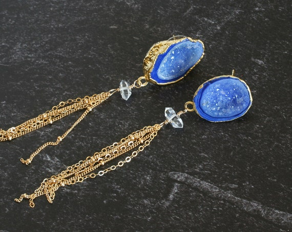 Blue Druzy Gold Tassel Earrings