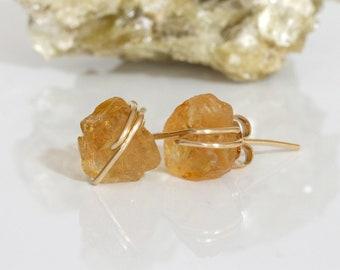 Raw Citrine Stud Earrings, Orange Stud Earrings,  Raw Gemstone Studs, November Birthstone, Birthstone Jewelry, Gift for Her