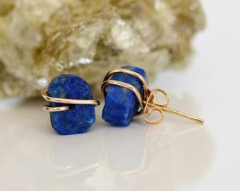 Blue Stone Earring Royal Blue Earring Lapis Lazuli Earrings Small Blue Dangle Navy Earring Blue and Gold Earring Blue Lapis Earring