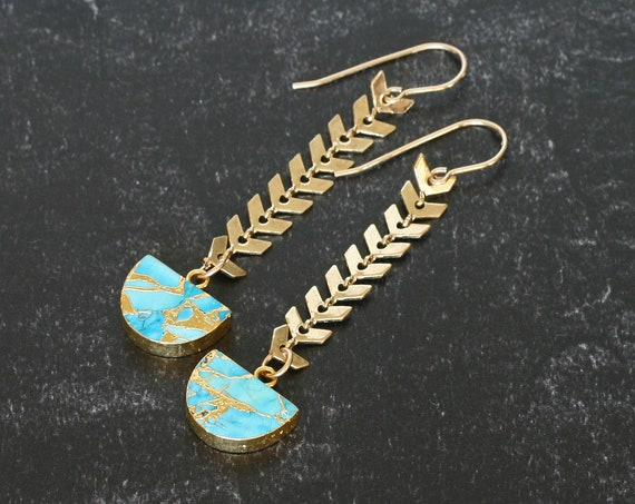 Turquoise SemiCircle Dangle Earrings