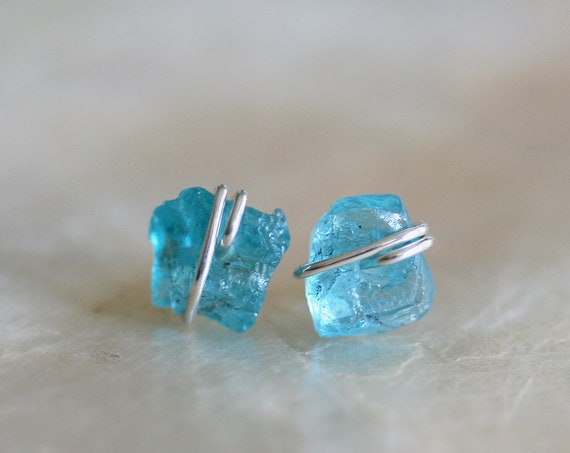 Raw Apatite Stud Earrings