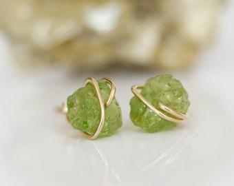 Raw Peridot Stud Earrings, Green Stud Earrings,  Raw Gemstone Studs, August Birthstone, Birthstone Jewelry, Gift for Her