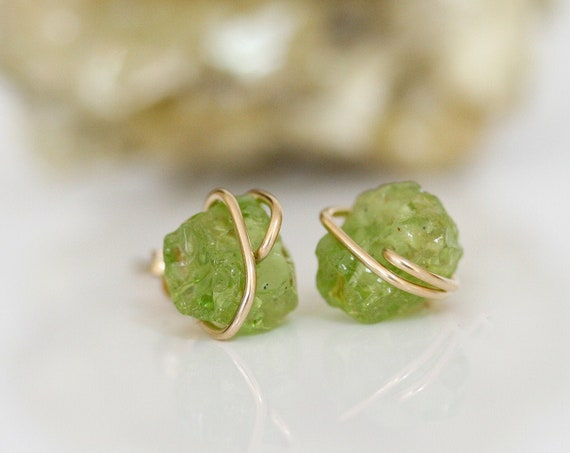 Raw Peridot Stud Earrings