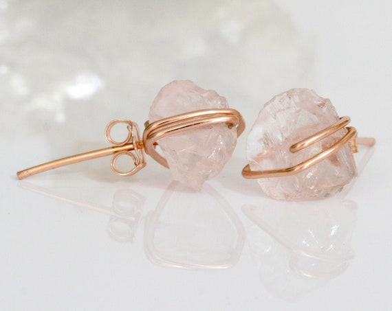 Raw Rose Quartz Stud Earrings