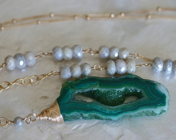 Long Gold Necklace with Green Geode Pendant