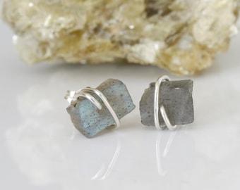 Raw Labradorite Studs, Labradorite Earrings, Raw Gemstone Stud Earrings, Grey Stud Earrings, Transformation Stone