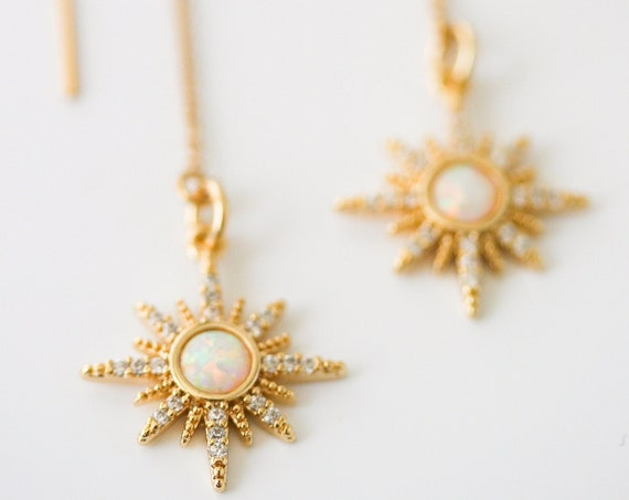 Gold Starburst Threader Earrings