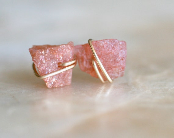 Raw Pink Tourmaline Stud Earrings