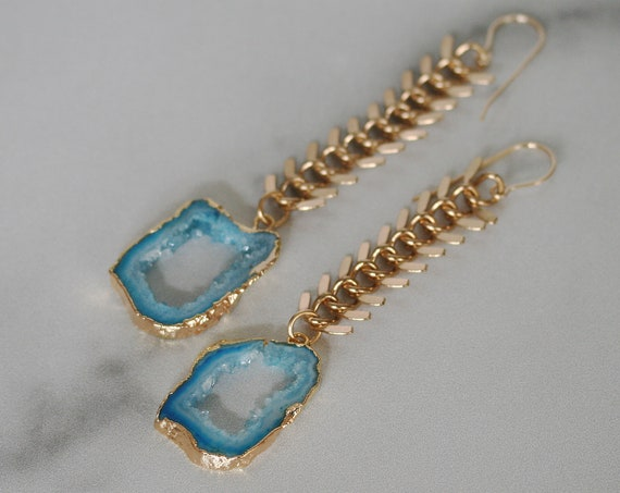 Gold Chunky Chain Earrings with Blue Druzy