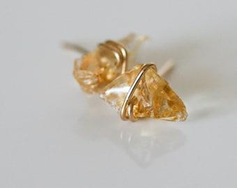 Raw Citrine Stud Earrings, Natural Citrine Earrings,  Raw Gemstone Studs, November Birthstone, Birthstone Jewelry, Gift for Her