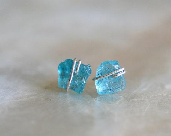 Raw Apatite Stud Earrings