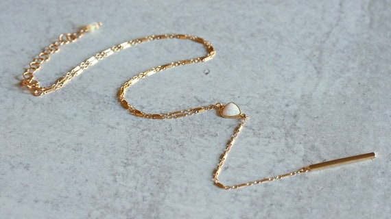 Opal and Gold Y Necklace with Gold Bar Drop