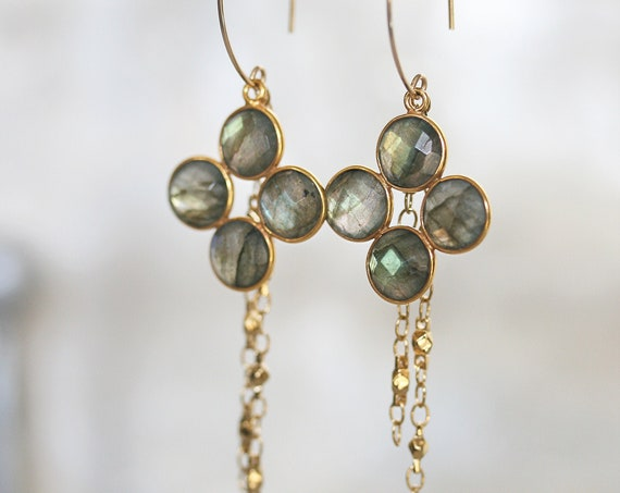 Gold Labradorite Dangle Earrings