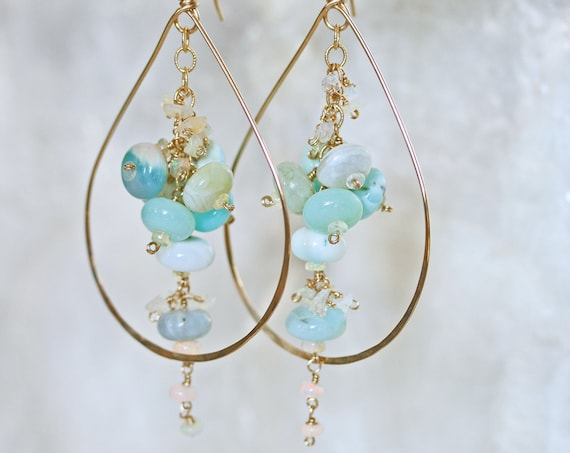 Opal Gemstone Hoop Earrings