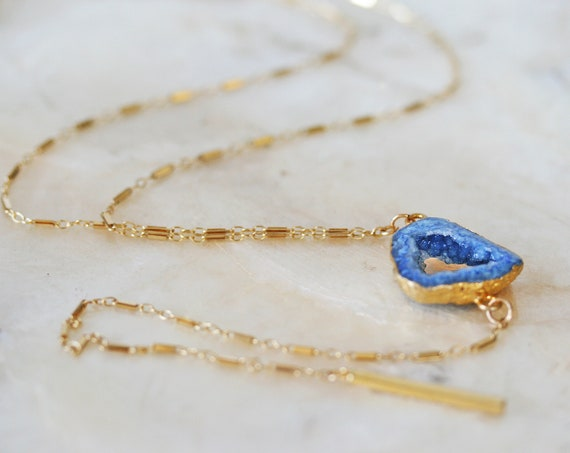 Blue Druzy Y Necklace
