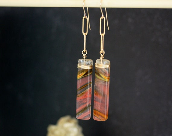Strawberry Quartz on Gold Rectangle Chain Earrings