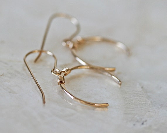 Gold Upside Down Crescent Moon Earrings