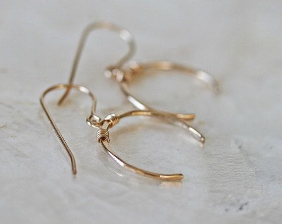 Gold Upside Down Crescent Moon Earrings