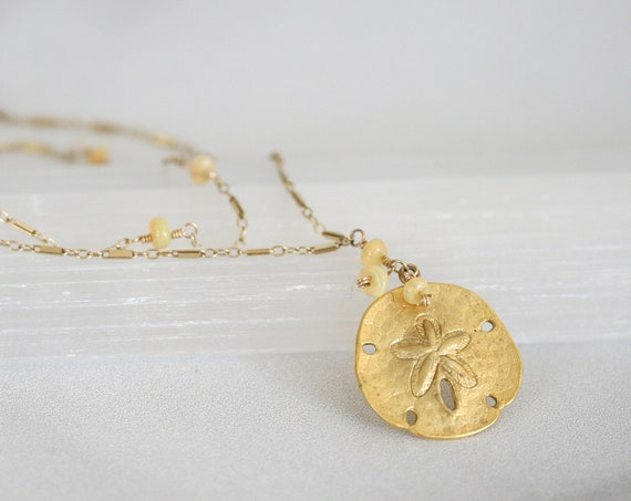 Gold Sand Dollar Necklace, Opal Necklace, Two Strand Necklace, Gold Pendant Necklace, October Birthday