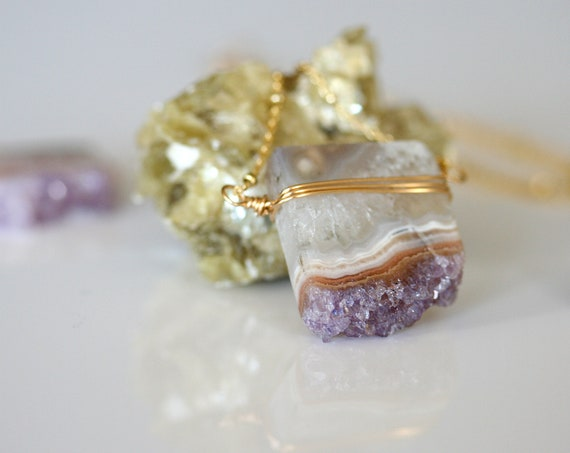 Gold Amethyst Slice Necklace with Crystals