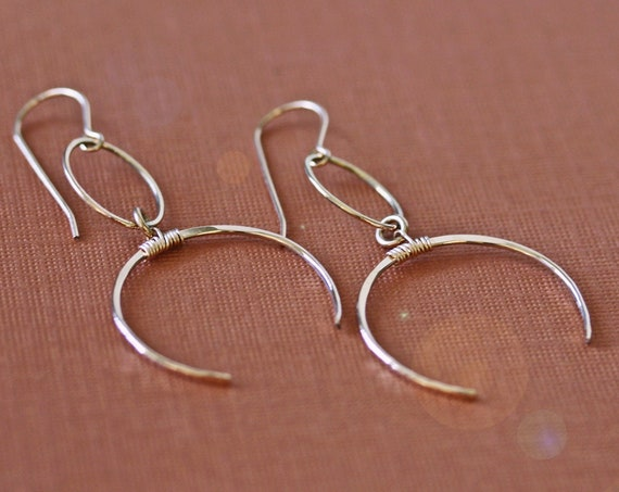 Long Gold Crescent Moon and Hoop Earrings