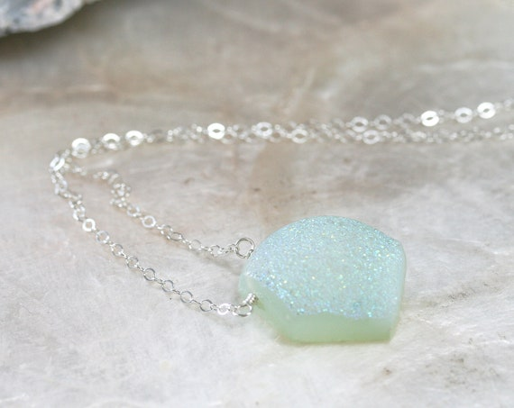 Druzy Pendant Necklace on Sterling Silver Chain