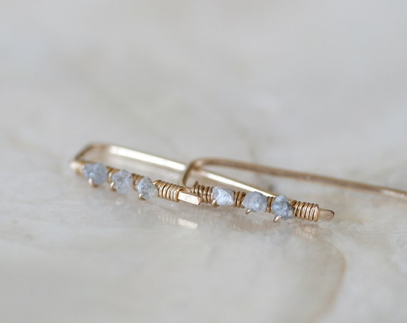 Raw Diamond Huggie Earrings