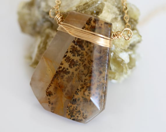 Dendritic Quartz Necklace on Gold Filled Cable Chain