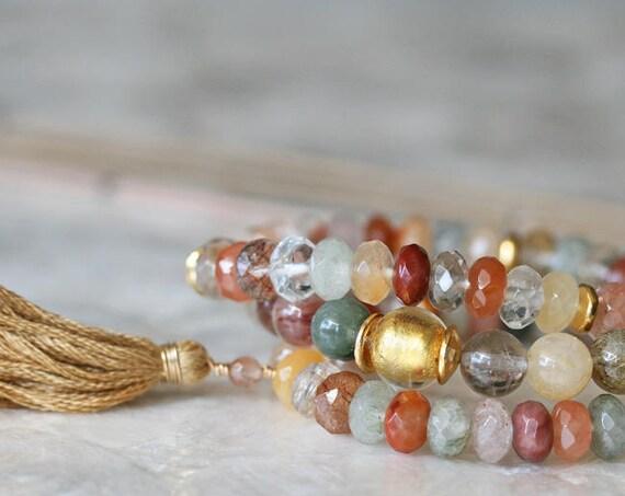 Multicolored Rutilated Quartz Bracelet Set with Tassel