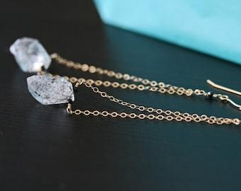 Herkimer Diamond Earrings, Dangle Earrings, Crystal Earrings, Raw Crystal Earrings, Long Earrings, Quartz Earrings