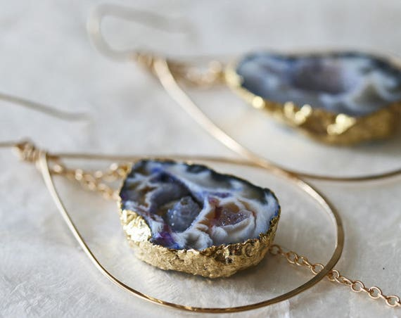 Gold Leafed Druzy Geode Hoop Earrings