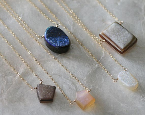 Druzy Necklace on Delicate 14k Gold Filled Chain