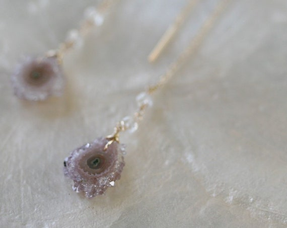 Amethyst Stalactite Threader Earrings with Moonstone