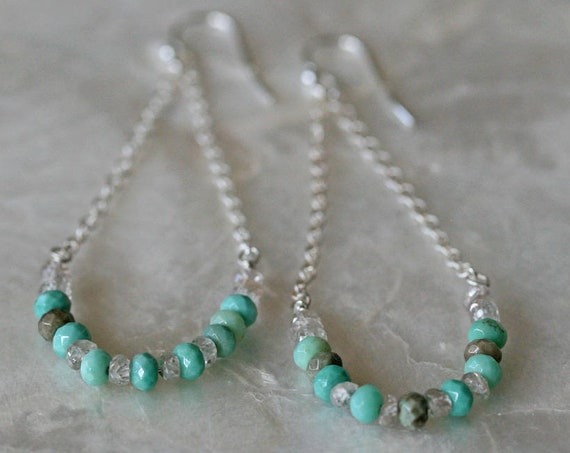 Summer Swing Earrings in Chrysoprase Zircon and Sterling Silver