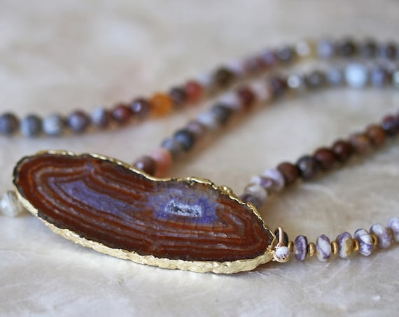 Long Agate Pendant Necklace with Beaded Gemstone Chain