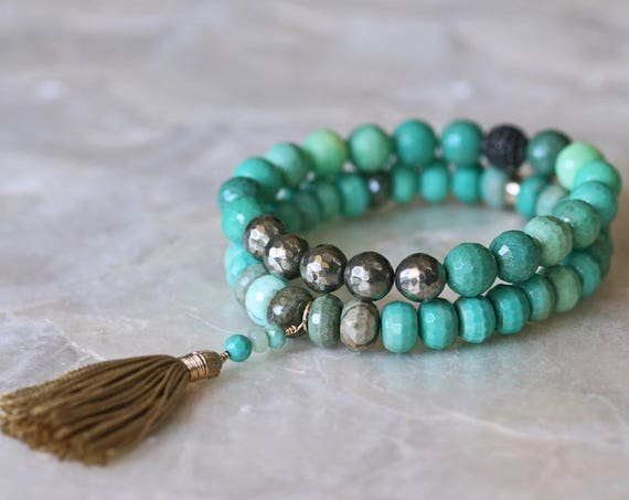 Faceted Chrysoprase Layered Bracelets with Silk Tassel and Pyrite
