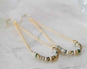 Ocean Jasper Earrings, Swing Earrings, Smile Earrings, Jasper Earrings, Long Earrings, Beaded Earrings, Gemstone Earrings