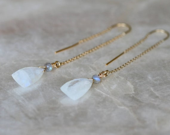 Rainbow Moonstone Threader Earrings with Labradorite Accents