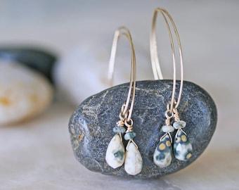 Ocean Jasper Earrings, Drop Earrings, Natural Stone Earrings, Gold Jasper Earrings, Ocean Jasper Drop Earrings and Gold Filled Hammered Wire