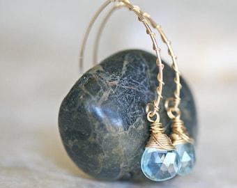 Blue Topaz Earrings, Topaz Earrings, Gold Earrings, Open Hoop Earrings, Briolette Earrings, Dangle Earrings, November Birthstone Earrings