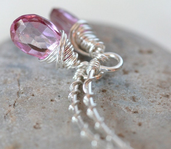 Pink Topaz Briolette Earrings