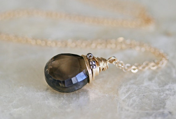 Smoky Quartz Briolette Necklace