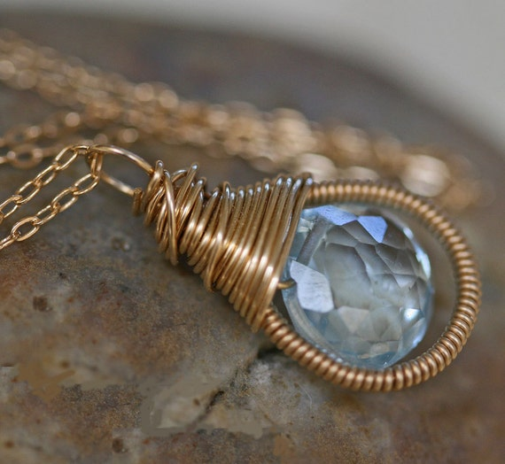 Blue Topaz Necklace - Gold Necklace - Birthstone Necklace - Wedding Jewelry