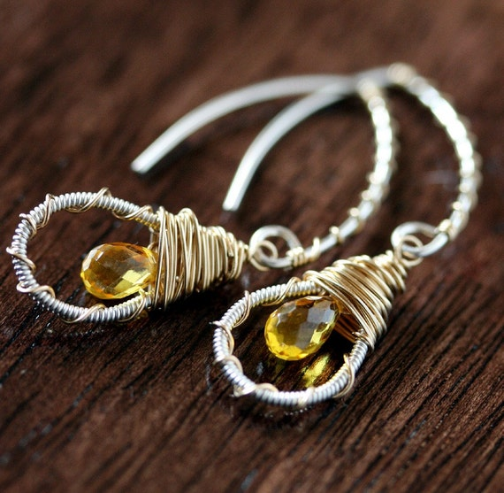 Dangle Earrings - Briolette Earrings - Yellow Stone Earring
