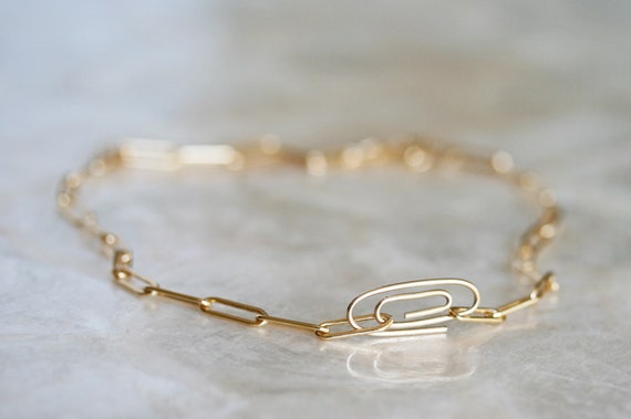 Gold Paperclip Chain Necklace